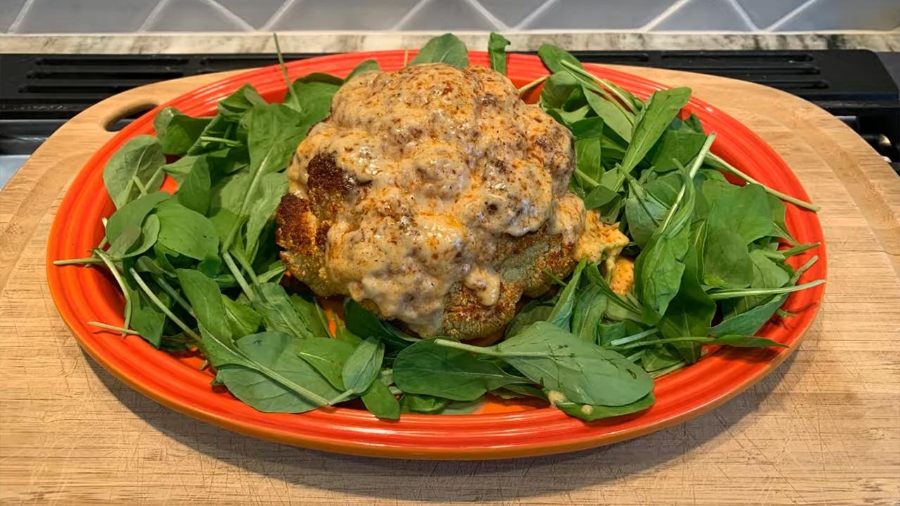 WannaRub Cheesy Whole Roasted Cauliflower