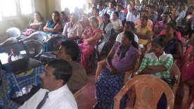 Some of the parents and students at the Presentation at Mirahawatta Devananda Public School (Sri Devananda Madya Maha Vidyalaya)