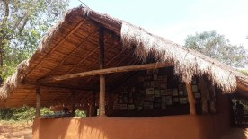 The hut of Mr. Uruwarige Wanniya, the Chief of Vedda tribe in Dambana, Mahiyanganaya