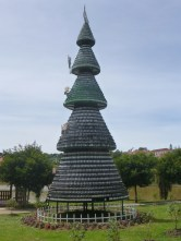 Strange tree made from local wine bottles