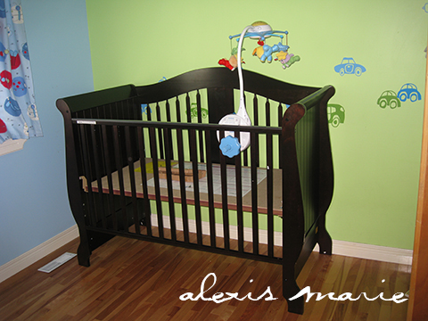 The crib built and waiting…