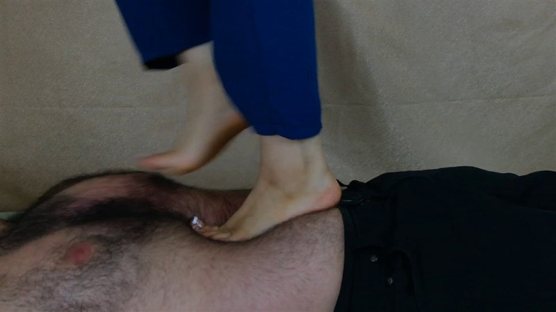 Zelda's Barefoot Trampling with French Pedicured Toes