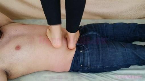 Caroline Barefoot Stomach Trampling