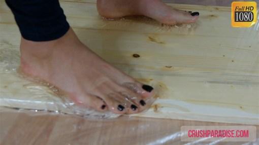 Crystal Stuck Barefoot in Huge Rat Glue Trap