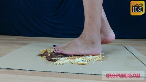 Mature Donna Crushes a Chocolate Cake Barefoot