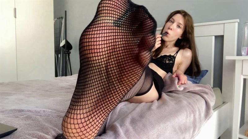Sexy Russian Feet in Fishnet Stockings