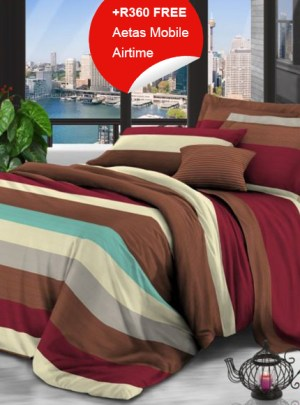 Queen Bedding Brown And Red Set