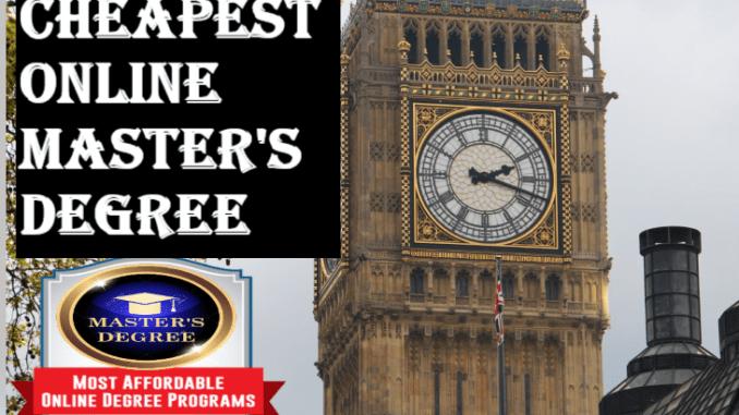 Cheapest Online Masters Degree UK