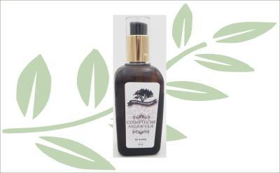 Cosmetische Arganolie in glazen fles