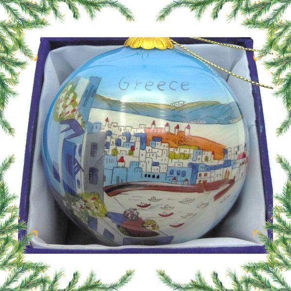 Griekse kerstbal - Grieks dorp Kerst