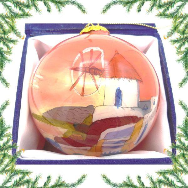 Griekse kerstbal - Griekse molen oranje Kerst