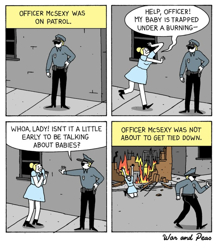 War and Peas - Officer McSexy - Comics by Elizabeth Pich and Jonathan Kunz
