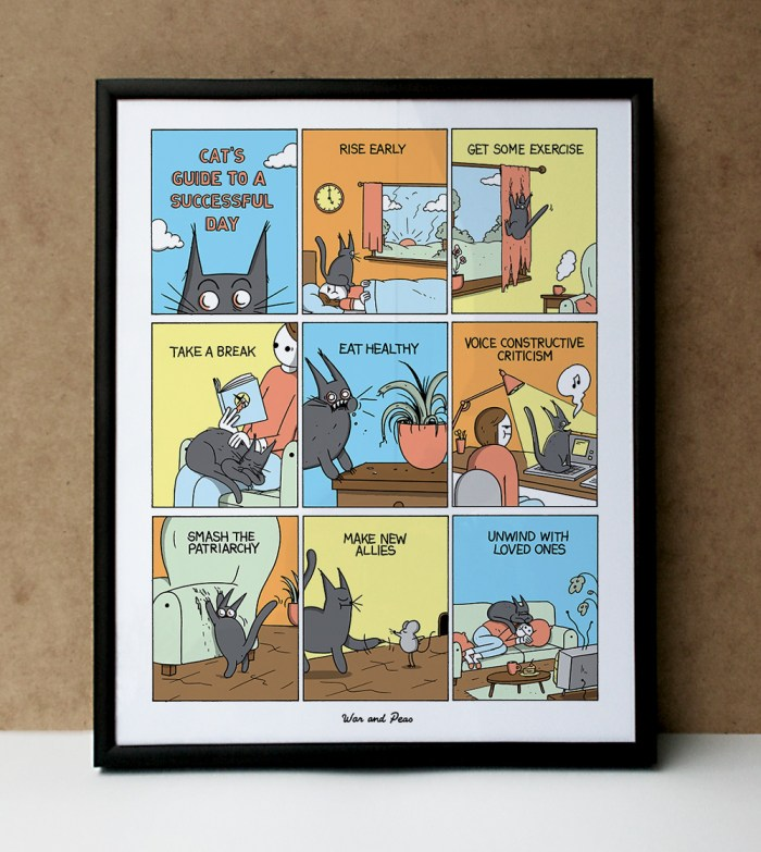 War and Peas - Cats Guide - Comic Print Framed