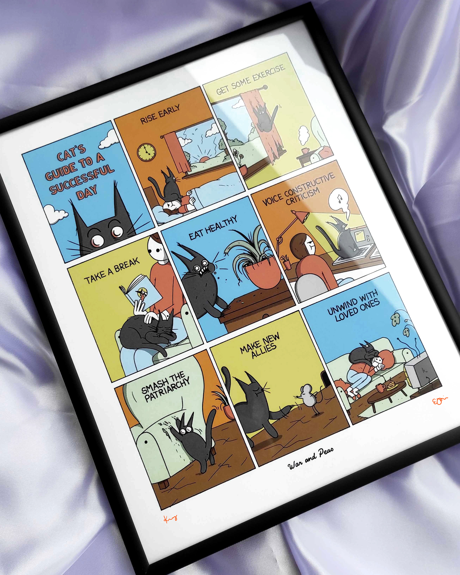 War and Peas - Cat's Guide - Framed Print