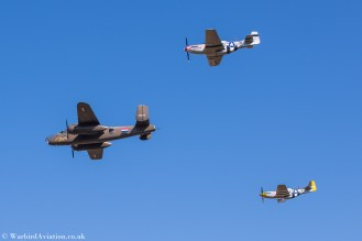 North American B-25 Mitchell with P51 Mustang escort