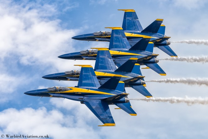Blue Angels Stacked One to Four Pass