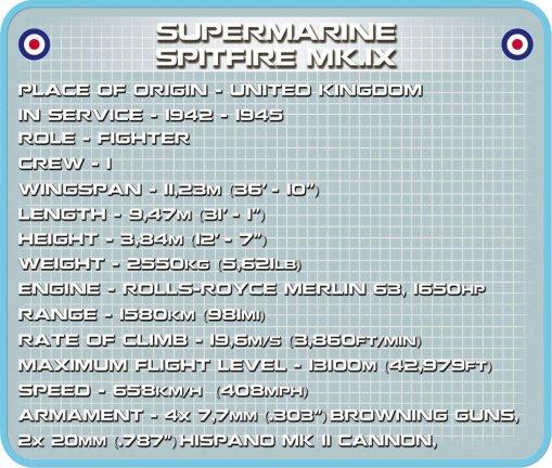 Cobi Supermarine Spitfire MK IX Set Specs
