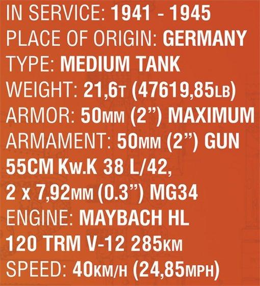 COBI 148 Scale Panzer III Set (3062) Specs