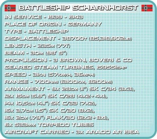 COBI Battleship Scharnhorst Set (4818) Specs