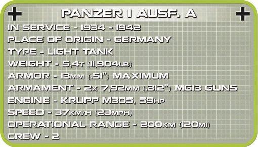 COBI Panzer I Ausf.A Tank Specs