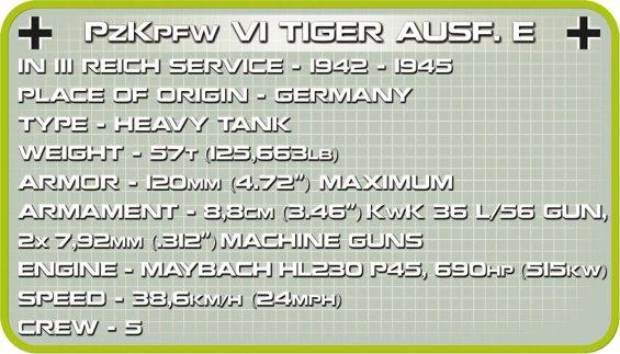 COBI Tiger 1 PzKpfw AUSF E Set Specs