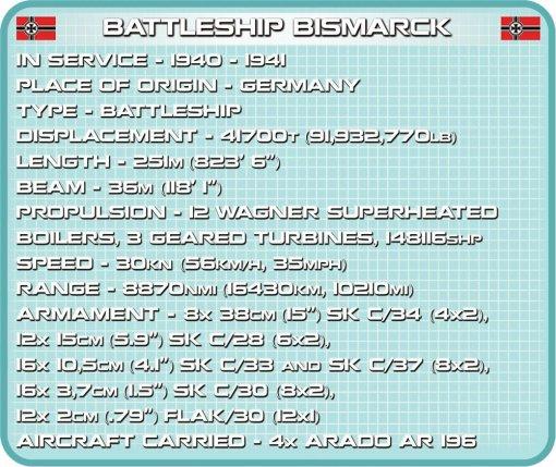 COBI Battleship Bismarck Set (4819) Spec Sheet