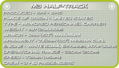 COBI M3 Armored Half-Track Set (2536) Specs