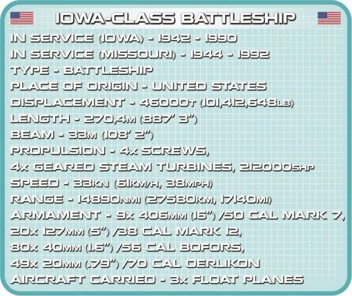 COBI USS IOWA_ USS MISSOURI SET (4812) Tech Sheet