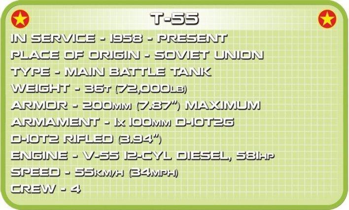 COBI MEDIUM TANK T- 55 (2234) SET Specs