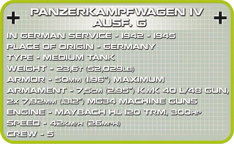 COBI Panzer IV AUSF. G Set (2546) specs