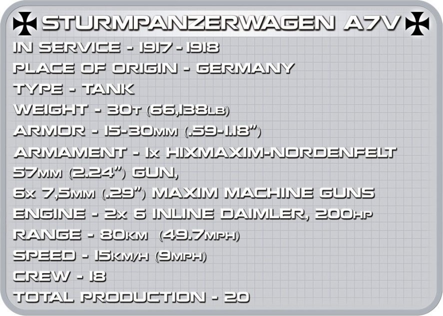 COBI STURMPANZERWAGEN A7V Set (2982) Spcs