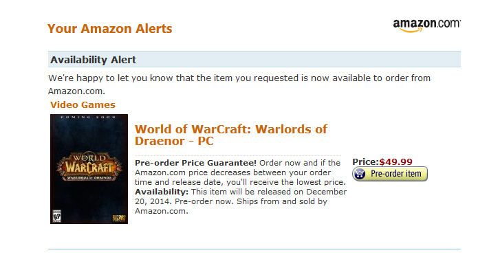 Pre Orders Open For The Boxed World Of Warcraft Warlords Of Draenor Standard Edition