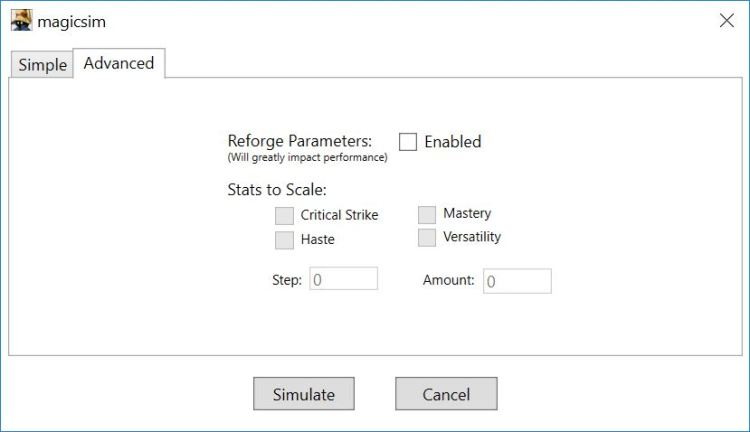 Advanced configuration screen for Magicsim