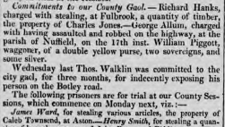 """James Ward, for stealing various articles, the property of Caleb Townsend, at Aston"" - Jackson's Oxford Journal, 21 Apr 1827 - britishnewspaperarchive.co.uk"