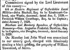 John Ward committed to Gaol for stealing gelding from William Townsend at Aston Oxford Journal 12 Feb 1820 p3 c2