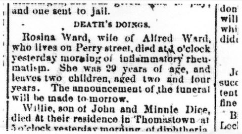 Rosina Ward obituary, Saginaw (Michigan) Daily Courier, 7 Feb 1883, p. 7