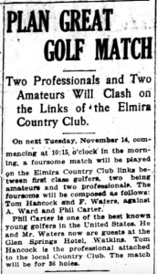 A Ward plays match at Watkins Glen Elmira NY Star Gazette 8 Nov 1916 p2c7