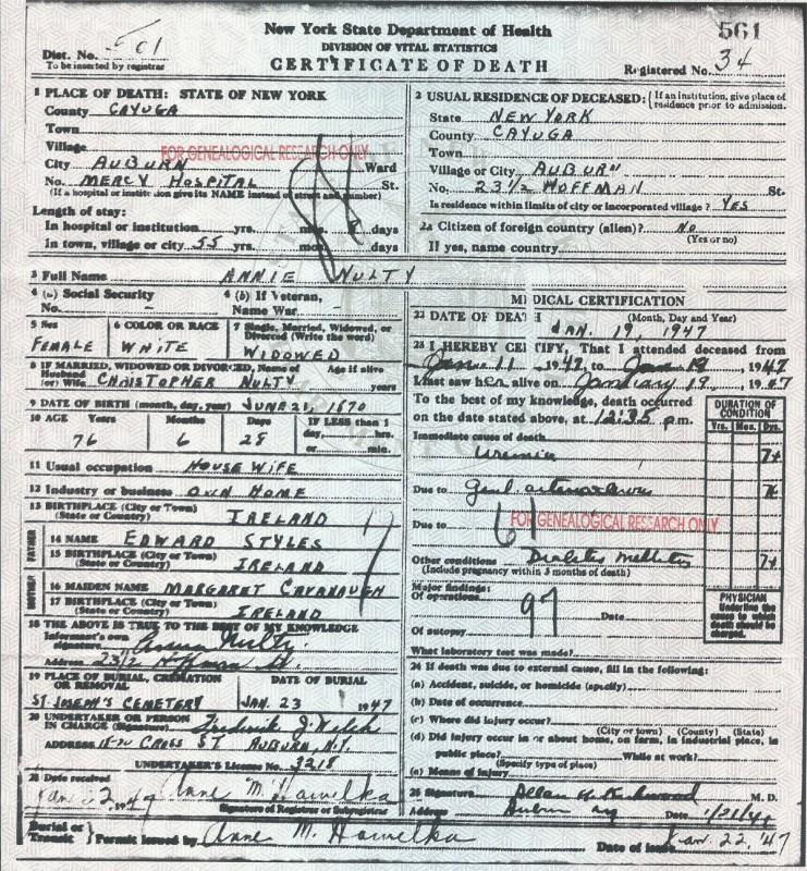 Annie Styles Nulty death certificate 19 Jan 1947 Auburn NY copy web ...