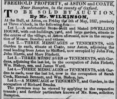 James Ward occupying lot for sale at Aston and Cote Oxfordshire, Jackson's Oxford Journal 22 Apr 1837, http://www.britishnewspaperarchive.co.uk