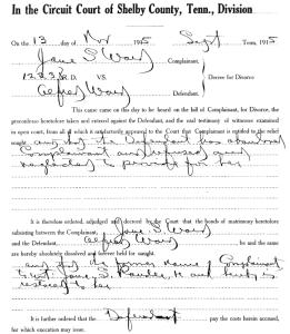Jane S Ward vs Alfred Ward divorce Shelby County Circuit Court TN 13 Nov 1915