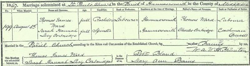 Thomas James Ward and Sarah Hannah Lucy Courtneidge marriage, 5 Aug 1867, Hammersmith