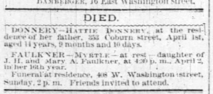 Myrtle Randolph Faulkner death notice 3 April 1885