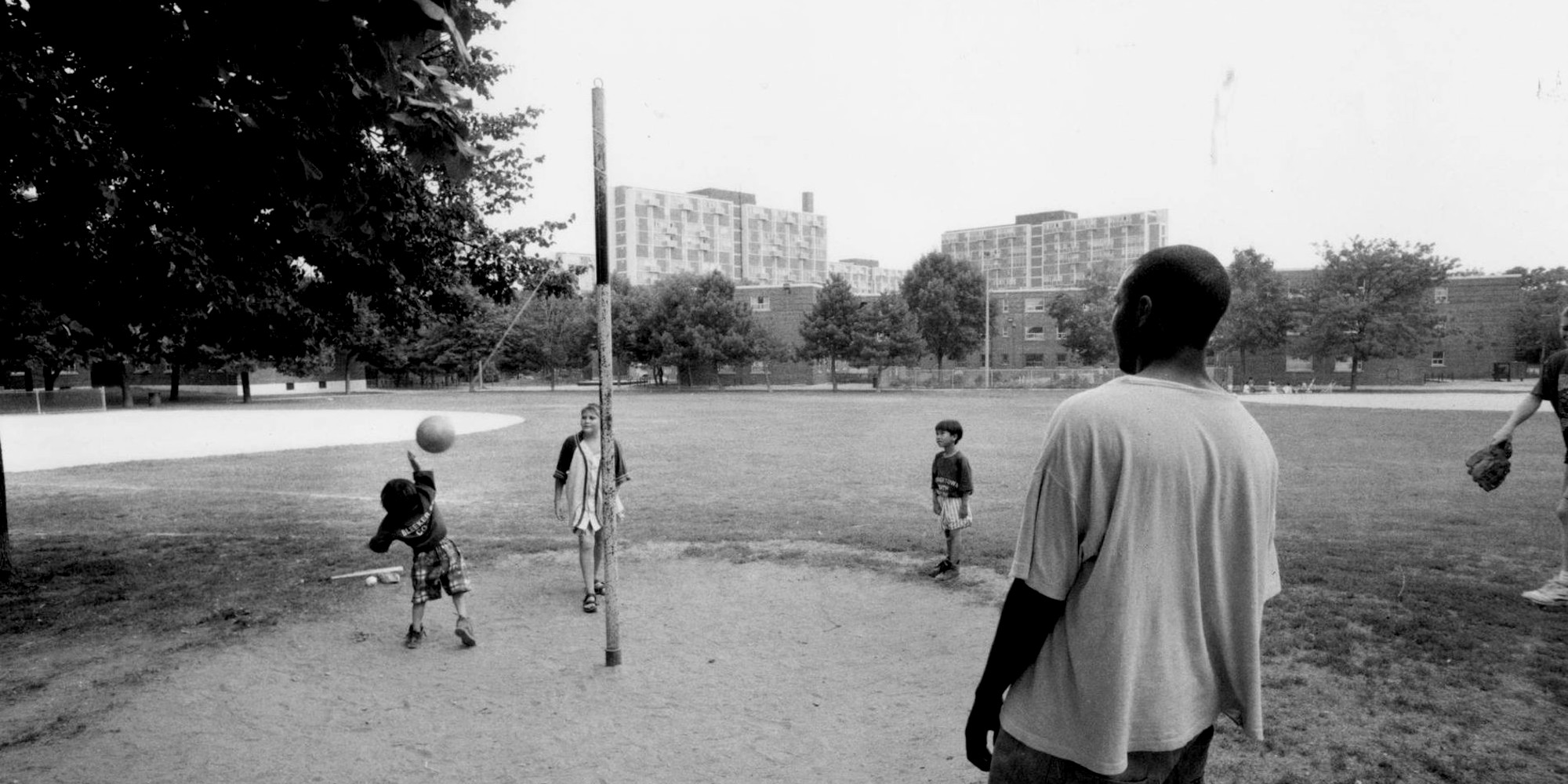 Kids playing in Regent Park during Taijah's youth. For Taijah, children running around and playing without worries is emblematic of what community looks like in Regent Park.