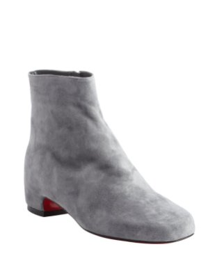 Christian Louboutin Grey Suede Side Zip Ankle Boots $611 Bluefly