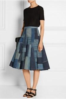 Junya Watanabe patchwork denim midi skirt www.netaporter.com