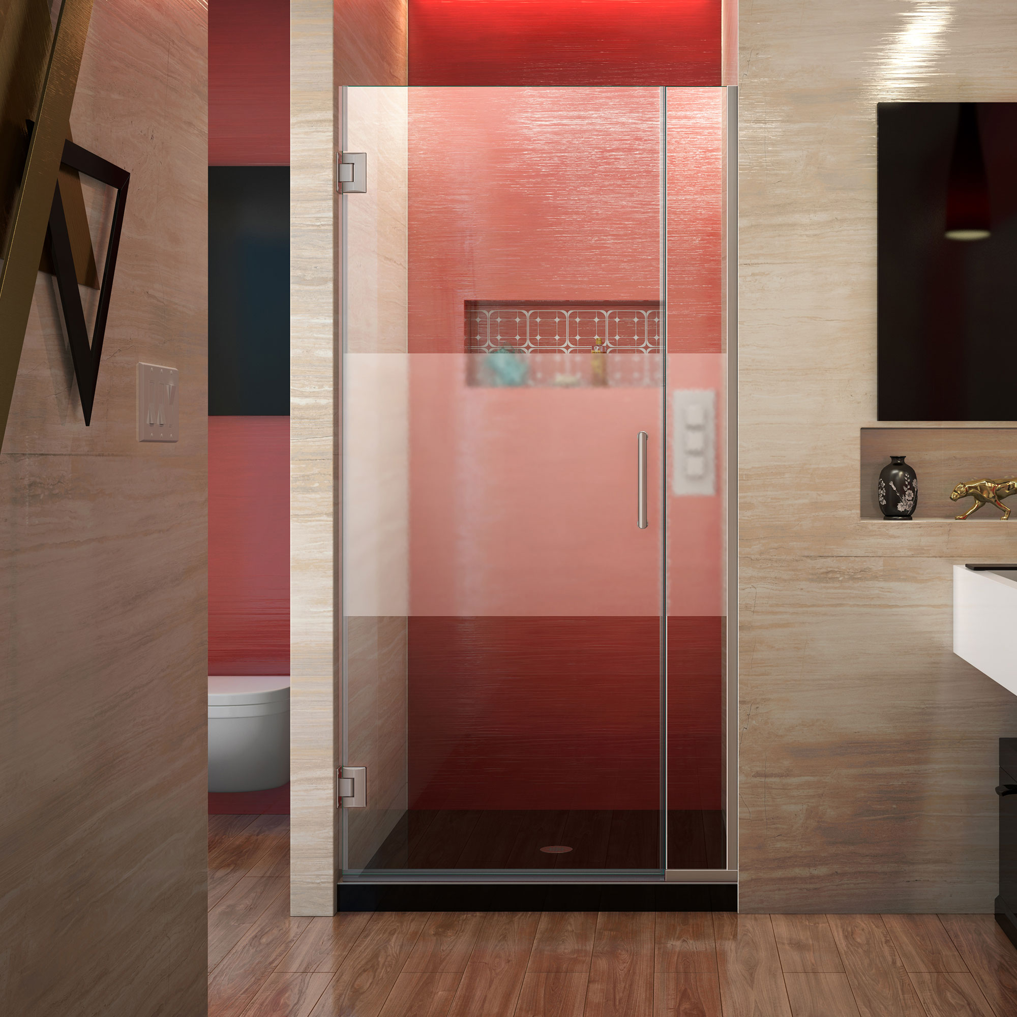 Dreamline Unidoor Plus Shdr 243507210 Hfr 04 Hinged Shower Door With Frosted Band Glass In Brushed Nickel