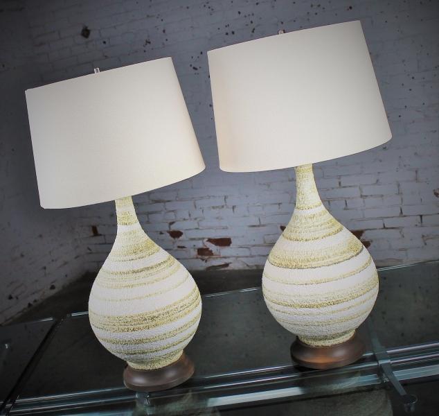 Vintage Pair of Mid-Century Modern Horizontal Striped Ceramic Lamps