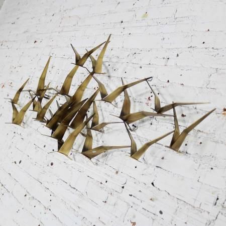 Curtis Jere Flock of Flying Birds Metal Wall Hanging Sculpture Signed Dated 1989