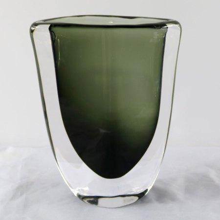 Orrefors Sommerso Vase by Nils Landberg Dusk Series Signed Smoke Gray Green