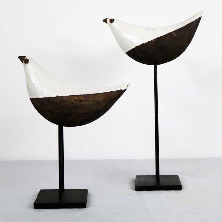 Aldo Londi Bird on Stand by Bitossi for Rosenthal-Netter Vintage Mid Century Modern Pair